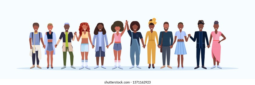 happy men women standing together smiling african american people with different hairstyles wearing trendy clothes male female cartoon characters full length white background horizontal
