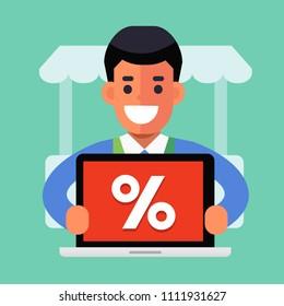 Happy merchant with online promotion, computer laptop. Online shopping service, e-commerce concept. Flat vector illustration