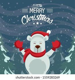 happy merry christmas card with polar bear vector illustration design