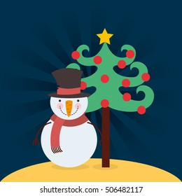 happy merry christmas character vector illustration design