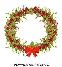 happy merry christmas floral decoration card