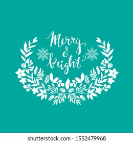 Happy Merry Christmas lettering. Template  Christmas  card with   flowers wreath, frames. Festive christmas  background.  Unique  handrawn  winter design for greeting cards, invitation.  Vector