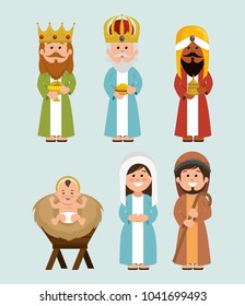 happy merry christmas manger characters