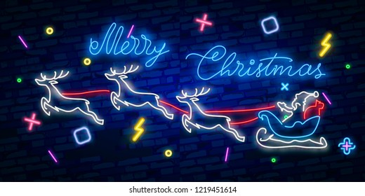 Happy Merry Christmas neon sign. Night party. Neon sign, bright signboard, light banner.