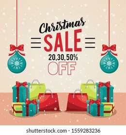 happy merry christmas sale card with shopping bags and gifts vector illustration design