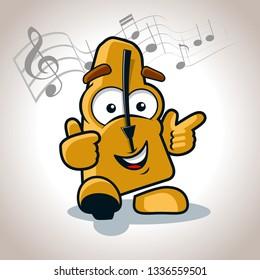 happy metronome character