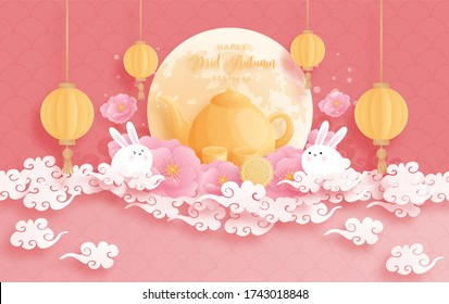 Happy Mid Autumn festival with beautiful lotus and bunny, full moon. Paper cut vector illustration.
