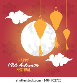 Happy mid autumn festival card with chinese paper lanterns and moon ,vector illustration graphic design.