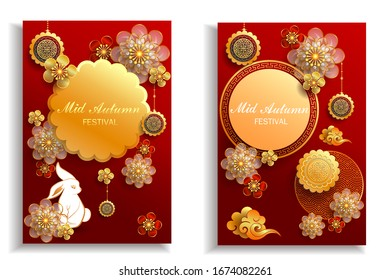 Happy mid autumn festival / Chinese festival with rabbit, flowers and moon cake one red paper / Vector, illustration