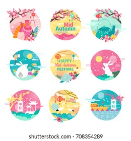 Happy mid autumn festival emblems with sakura blossom, fluffy bunnies, graceful stork, teapots with ornament and small ship vector illustrations.