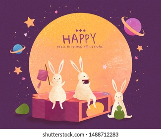 Happy Mid autumn festival with lovely jade rabbits sit on giant mooncake and enjoy moon watching