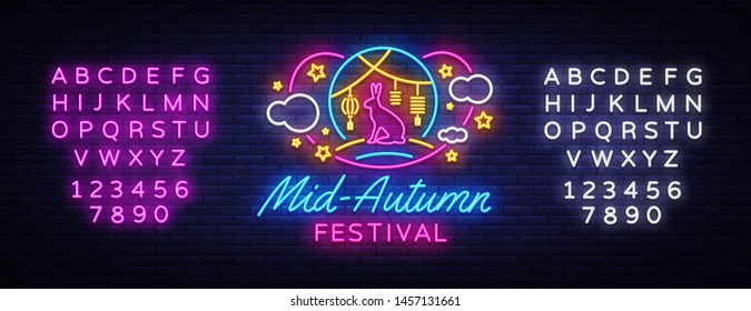 Happy Mid Autumn Festival neon sign vector. Mid Autumn Design template web, banner, poster, greeting card, party invitation, light banner. Isolated Vector illustration. Editing text neon sign
