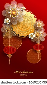 Happy Mid-Autumn Festival / Chinese festival with flower, lamp and moon cake on red background /Vector illustration, posters, brochure, calendar, flyers, banners