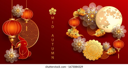Happy Mid-Autumn Festival. Chinese festival with rabbit, the moon, flowers, moon cake and lantern on red paper. Vector illustration, posters, brochure, calendar, flyers, banners