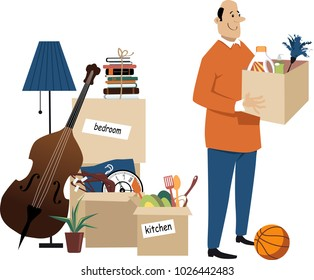 Happy middle age man standing with boxes ready to move to a new home, EPS 8 vector illustration