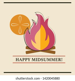 Happy Midsummer card vector graphic