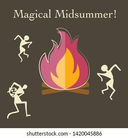Happy Midsummer card vector graphic