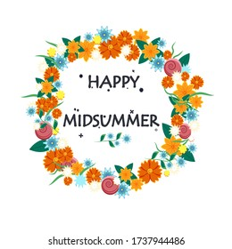 Happy Midsummer greeting poster. Floral wreath and lettering Glad Midsommer. Template for Sweden longest summer day holiday banner background. Vector illustration.