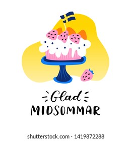 Happy Midsummer handwritten lettering poster in swedish, card, invitation, banner. Vector illustration EPS 10.