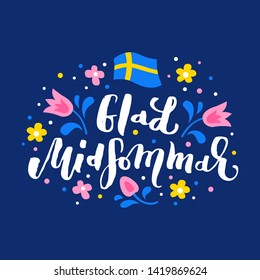Happy Midsummer swedish handwritten lettering quote. Vector illustration EPS 10.