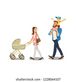Happy Millennial Parents Walking with Their Little Childrens, Strolling with Baby Carriage, Spending Time Together Cartoon Vector Illustration Isolated on White Background. Family Strolling Concept