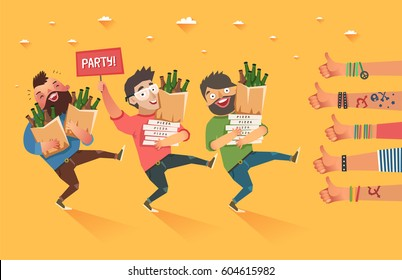"Happy millennials with ""Party"" placard and a lot of hands of young people showing thumbs up hand sign. Youth lifestyle. Colorful vector illustration in flat style."