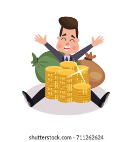 Happy millionaire character has a lot of money colorful vector Illustration