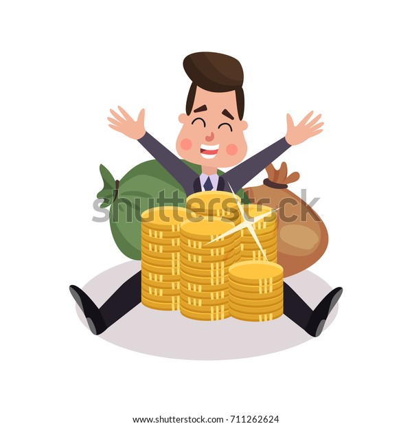 Happy Millionaire Character Has Money Colorful Stock Vector (Royalty