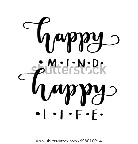 Happy Mind Happy L Ife On White Stock Vector Royalty Free