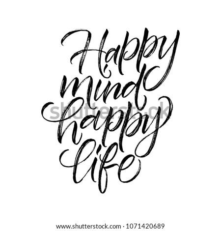 happy mind happy life sign inscription のベクター画像素材