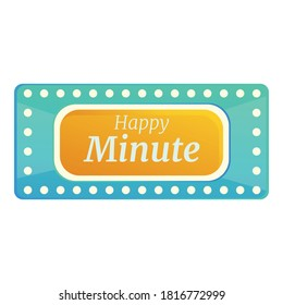 Happy minute lottery icon. Cartoon of happy minute lottery vector icon for web design isolated on white background