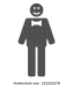 Happy mister halftone dotted icon. Halftone array contains circle elements. Vector illustration of happy mister icon on a white background.