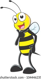 Happy Model Bee Cartoon with his handsome gesture