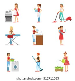 Happy Modern Housewives Cleaning And Housekeeping, Performing Different Household Duties With A Smile
