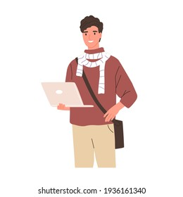 Happy modern student holding laptop. Young smiling man in casual clothing with crossbody bag. Portrait of smart guy from university. Colored flat vector illustration isolated on white background