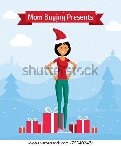 Happy Mom Buying Christmas Presents Handsome Stock Vector (Royalty ...