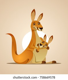 Happy mom kangaroo character and kangaroo child in her bag. Vector cartoon illustration