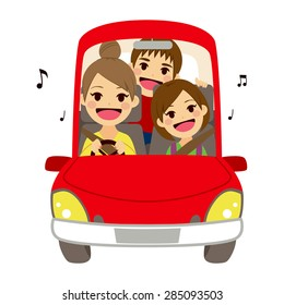 Happy mom and kids singing on car driving to school