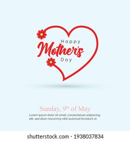 happy mom's day. Happy mother's day greeting card with typography design with heart shape. mothers day card or banner with cyan background. best mom card. heart with flowers.