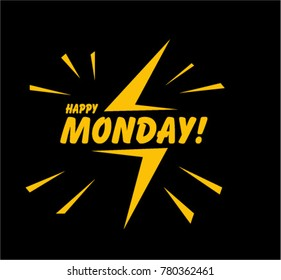 Happy Monday, Beautiful greeting card poster with comic style
