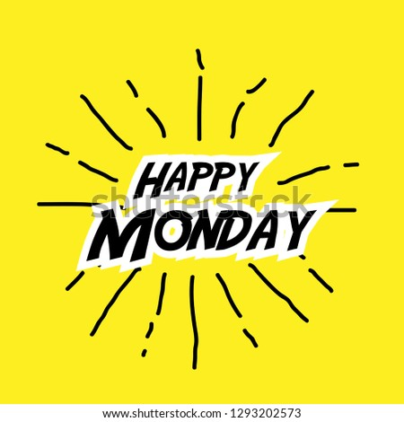Happy Monday Label Yellow Stock Vector Royalty Free 1293202573