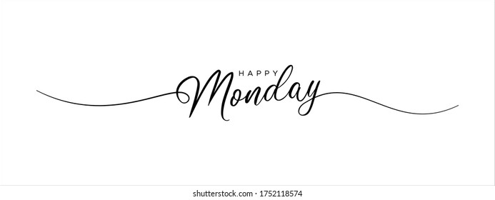 happy monday letter calligraphy banner