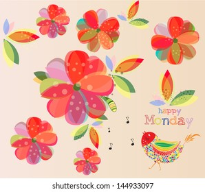 Happy Monday Lovely Wallpaper Colorful Floral