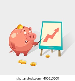 Happy money piggy bank character making a presentation about business growth. Saving money concept. Vector colorful illustration in flat style