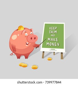 Happy money piggy bank character making a presentation about business. Making money concept. Vector colorful illustration