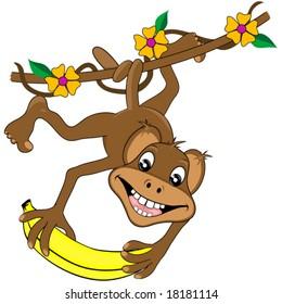 Happy monkey and banana vector.