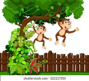 happy monkey cartoon