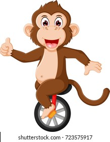 happy monkey circus cartoon up mono-cycle with smile and thumb up