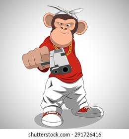 Happy monkey with gun