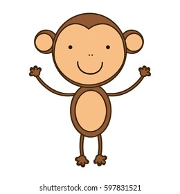 happy monkey with hands up icon, vector illustraction design